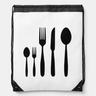 Knife and Fork_Silverware Drawstring Backpack