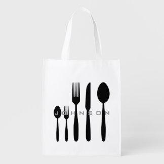 Knife and Fork Silverware Grocery Bag Custom Name