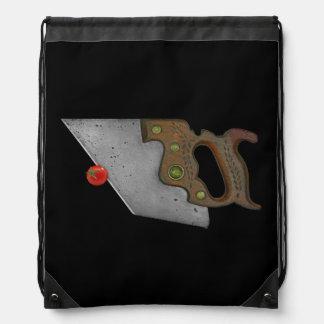 knife and tomato drawstring bag
