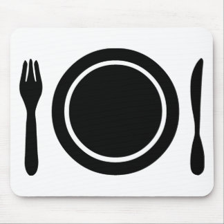 Knife, Fork and Plate. Mouse Pad