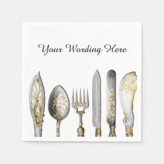 Knife fork spoon cutlery paper napkin