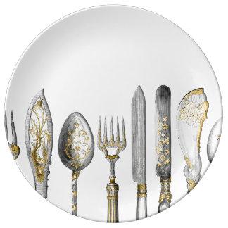 Knife fork spoon cutlery porcelain plate