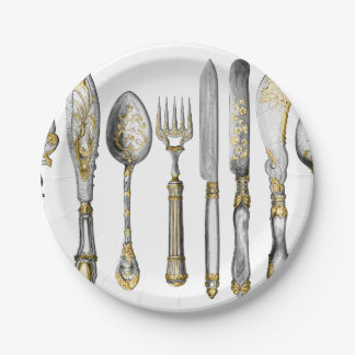 Knife fork spoon gold silver paper plate