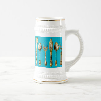 Knife fork spoon gold turquoise 18 oz beer stein