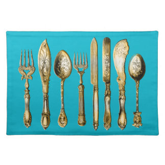 Knife fork spoon gold turquoise cloth placemat