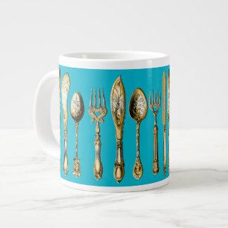 Knife fork spoon gold turquoise giant coffee mug