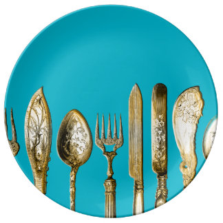 Knife fork spoon gold turquoise porcelain plates