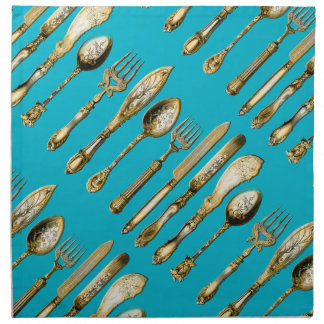 Knife fork spoon gold turquoise printed napkins