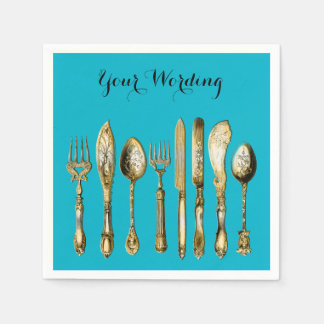 Knife fork spoon gold turquoise standard cocktail napkin