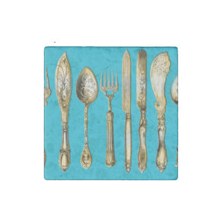 Knife fork spoon gold turquoise stone magnet