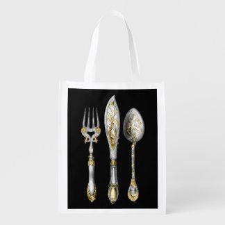 Knife fork spoon trio market totes