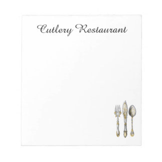 Knife fork spoon trio notepad