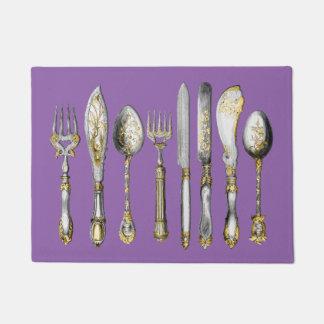 Knife fork spoon vintage purple doormat