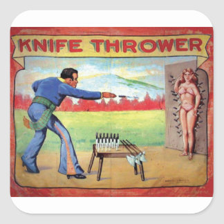 Knife Thrower Square Sticker