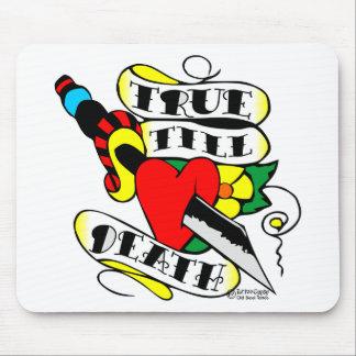 Knife Thru Heart True Till Death Old Skool Tattoo Mouse Pad