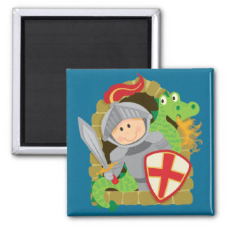 Knight and Dragon 2 Inch Square Magnet