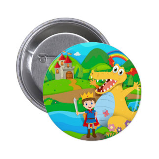 Knight and dragon on the fairy land button