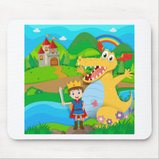 Knight and dragon on the fairy land mouse pad