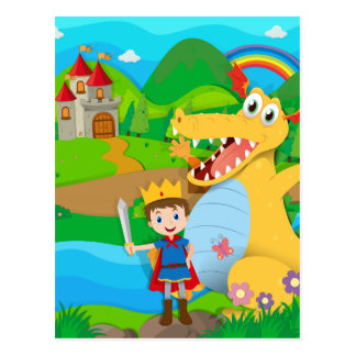 Knight and dragon on the fairy land postcard