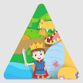 Knight and dragon on the fairy land triangle sticker