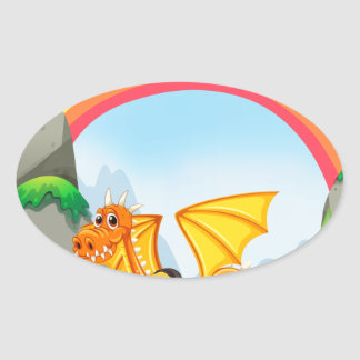 Knight and dragon oval sticker