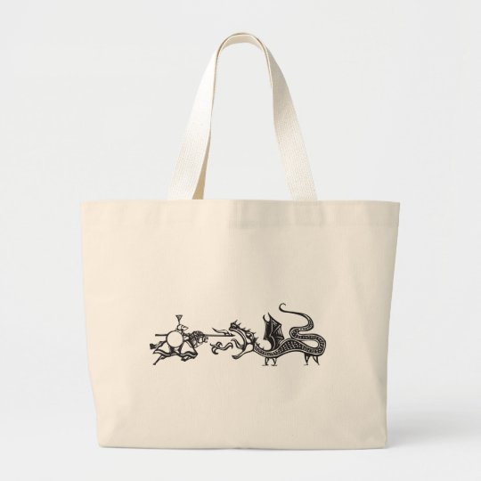 Knight and Fire Breathing Dragon Large Tote Bag