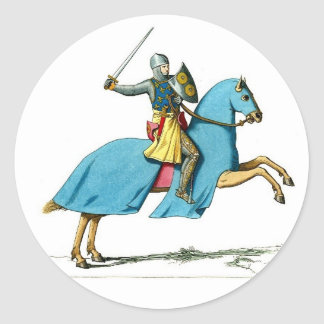 knight and horse classic round sticker