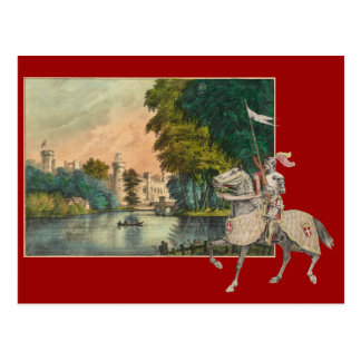 Knight and Horse in Armor Castle Behind Postcard