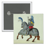Knight and horse in armour, plate from 'A History 2 Inch Square Button