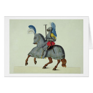 Knight and horse in armour, plate from 'A History Card