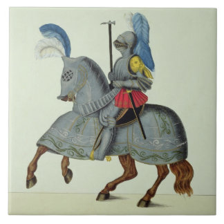 Knight and horse in armour, plate from 'A History Ceramic Tile