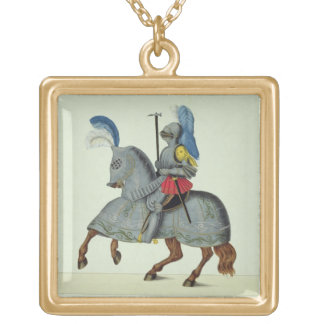 Knight and horse in armour, plate from 'A History Gold Plated Necklace