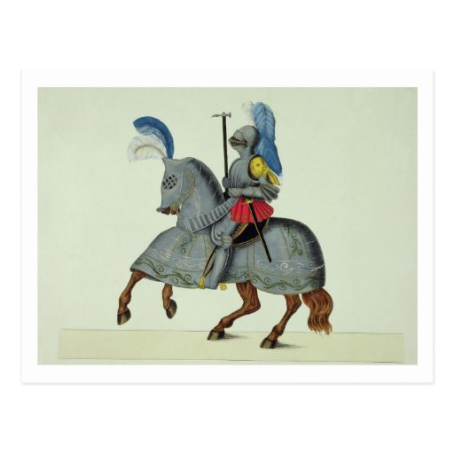 Knight and horse in armour, plate from 'A History Post Card