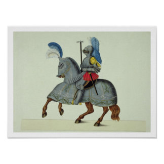 Knight and horse in armour, plate from 'A History Poster