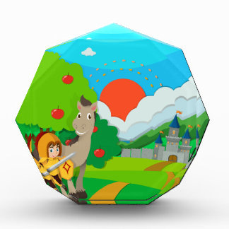 Knight and horse on the land acrylic award