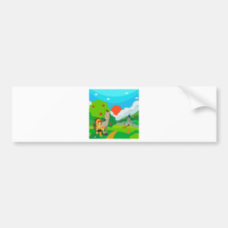 Knight and horse on the land bumper sticker