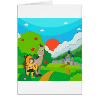 Knight and horse on the land card