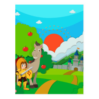 Knight and horse on the land postcard