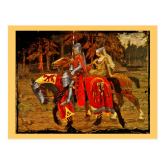 Knight and Maiden Chivalry Postcard