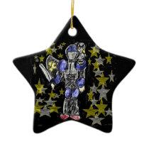 knight and owl ceramic ornament