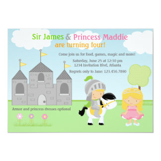 Knight and Princess Twins Joint Party Invitation