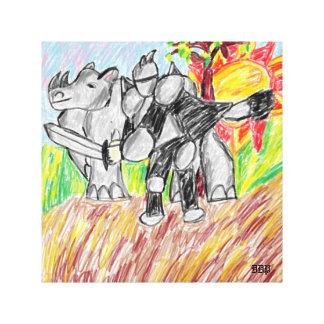 knight and rhino canvas print