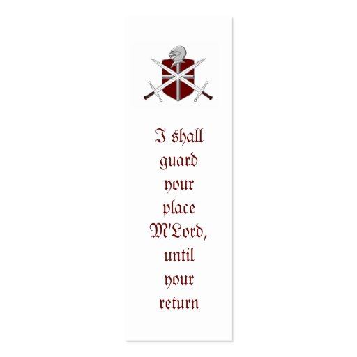 knight and sword skinny business card