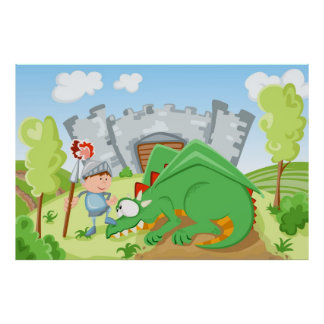 Knight and the dragon poster