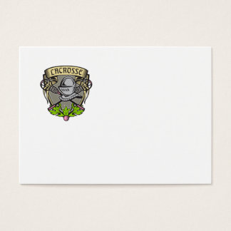 Knight Armor Lacrosse Stick Crest Woodcut Business Card
