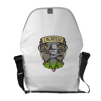 Knight Armor Lacrosse Stick Crest Woodcut Courier Bag