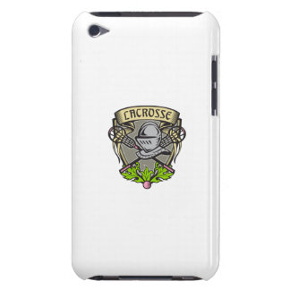 Knight Armor Lacrosse Stick Crest Woodcut iPod Touch Case-Mate Case