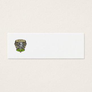 Knight Armor Lacrosse Stick Crest Woodcut Mini Business Card