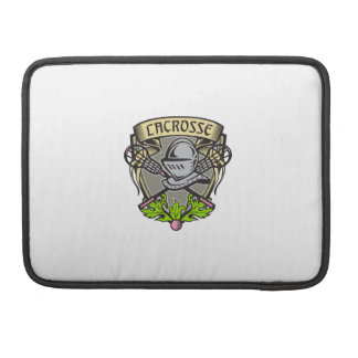 Knight Armor Lacrosse Stick Crest Woodcut Sleeve For MacBook Pro