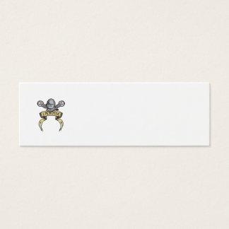 Knight Armor Lacrosse Stick Woodcut Mini Business Card
